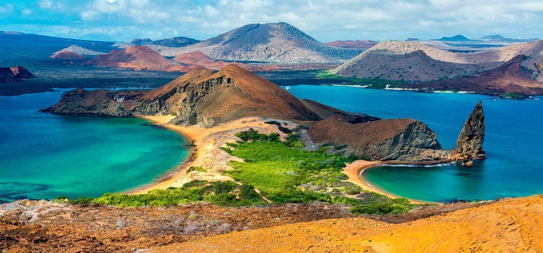 View of two beaches on Bartolome Island in the Galapagos Islands in Ecuador. By Jess Kraft | Shutterstock.com